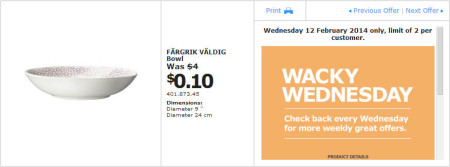 IKEA - Calgary Wacky Wednesday Deal of the Day (Feb 12) B