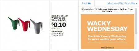 IKEA - Calgary Wacky Wednesday Deal of the Day (Feb 19) A