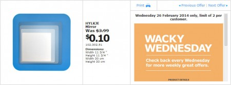IKEA - Calgary Wacky Wednesday Deal of the Day (Feb 26) A