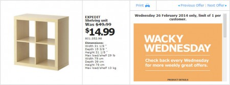 IKEA - Calgary Wacky Wednesday Deal of the Day (Feb 26) C