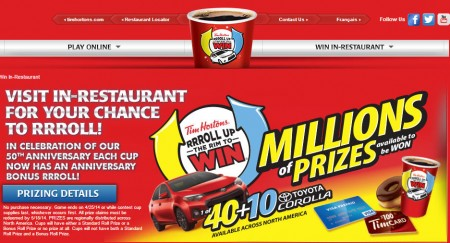 Tim Hortons Roll Up the Rim to Win is back (Feb 17 - Apr 25)