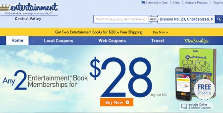 Entertainment Any 2 Coupon Books for only $28 + Free Shipping (Save 60-72 Off)