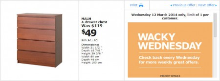 IKEA - Calgary Wacky Wednesday Deal of the Day (Mar 12) B