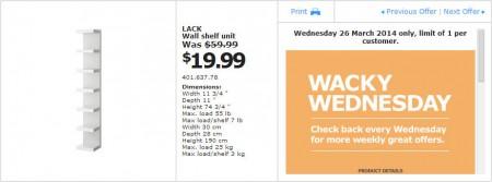 IKEA - Calgary Wacky Wednesday Deal of the Day (Mar 26) B