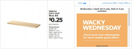 IKEA - Calgary Wacky Wednesday Deal of the Day (Apr 2) A