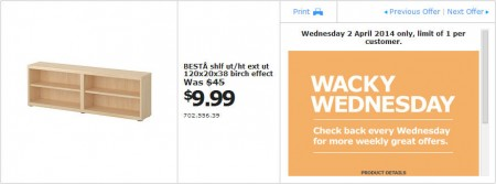 IKEA - Calgary Wacky Wednesday Deal of the Day (Apr 2) C