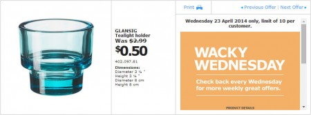 IKEA - Calgary Wacky Wednesday Deal of the Day (Apr 23) A