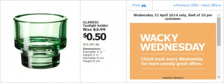 IKEA - Calgary Wacky Wednesday Deal of the Day (Apr 23) B