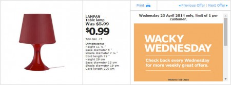 IKEA - Calgary Wacky Wednesday Deal of the Day (Apr 23) C
