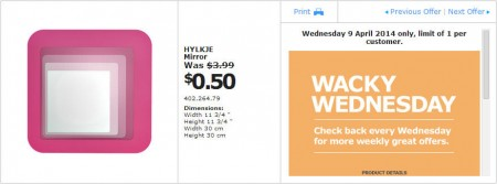 IKEA - Calgary Wacky Wednesday Deal of the Day (Apr 9) B