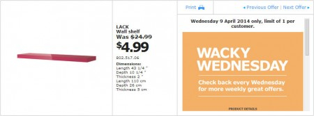 IKEA - Calgary Wacky Wednesday Deal of the Day (Apr 9) C