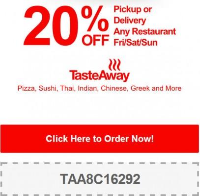TasteAway 20 Off Pickup or Delivery Promo Code (July 18-20)