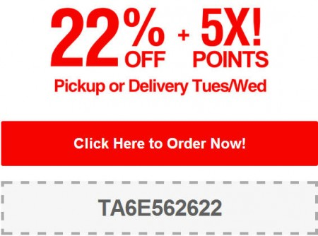 TasteAway 22 Off + 5X Points Pickup or Delivery Promo Code (July 22-23)