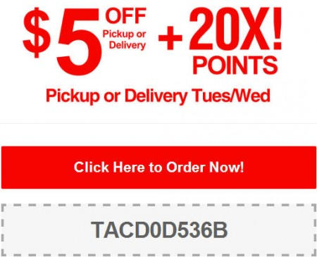 TasteAway $5 Off Pickup or Delivery + 20X Points Promo Code (July 29-30)