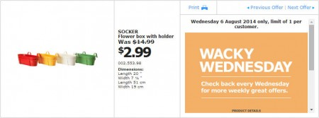 IKEA - Calgary Wacky Wednesday Deal of the Day (Aug 6)