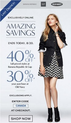 Last Chance GAP and Banana Republic - 40 Off Entire Purchase, or 30 Off at Old Navy (Aug 18-20)