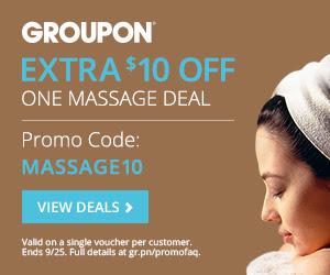 Groupon.com Extra $10 Off Massage Deals Promo Code (Sept 24-25)