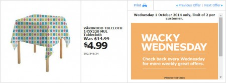 IKEA - Calgary Wacky Wednesday Deal of the Day (Oct 1)