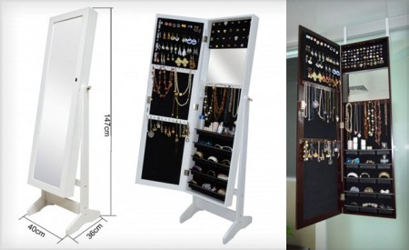 Wooden Mirror Jewellery Cabinet