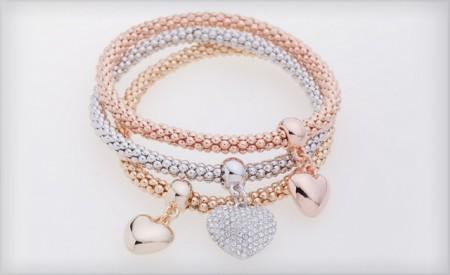 3 Heart Charm Bracelets