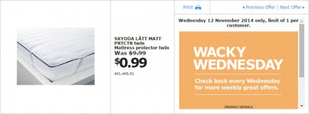 IKEA - Calgary Wacky Wednesday Deal of the Day (Nov 12) A