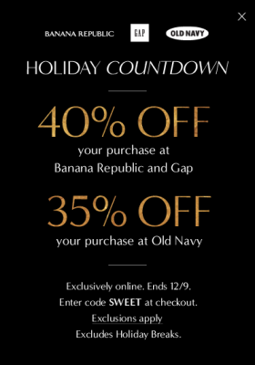 Gap and Banana Republic 40 Off Entire Purchase, or 35 Off at Old Navy (Dec 8-9)