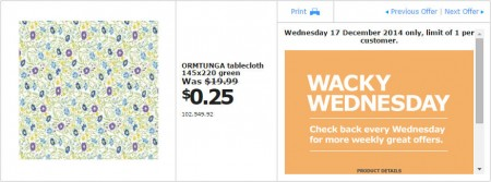 IKEA - Calgary Wacky Wednesday Deal of the Day (Dec 17) A