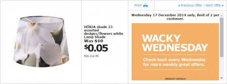 IKEA - Calgary Wacky Wednesday Deal of the Day (Dec 17) B