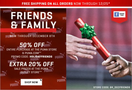 PUMA Friends and Family Sale - 50 Off + Free Shipping (Dec 4-8) A