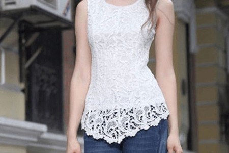 Embroidery Lace Peplum Top