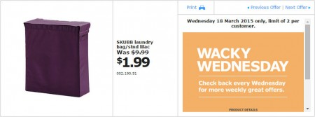IKEA - Calgary Wacky Wednesday Deal of the Day (Mar 18) B