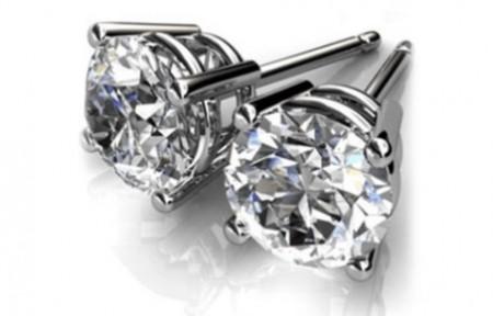 Round or Princess Cut Swarovski Element Stud Earrings