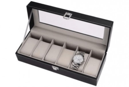 6-Slot Glass Top Watch Box