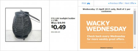IKEA - Calgary Wacky Wednesday Deal of the Day (Apr 15) A