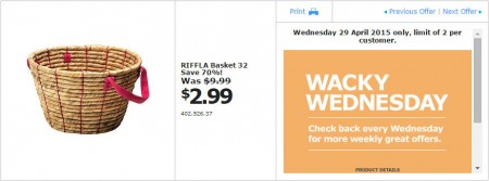 IKEA - Calgary Wacky Wednesday Deal of the Day (Apr 29) B