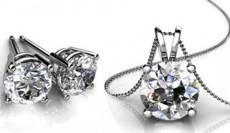 CZ Solitaire Necklace and Earring Set CZ Solitaire Necklace and Earring Set