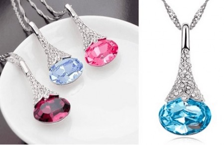 Crystal Water Drop Pendant Necklace