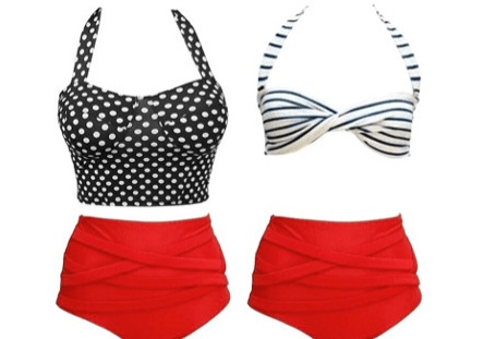 Red High-Waisted Swimsuit