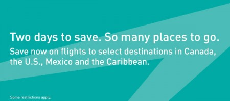 WestJet Two-Day Seat Sale (May 6-7)