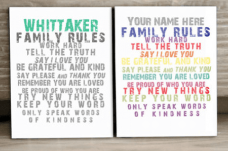 8 x 10 Family Rules Canvas