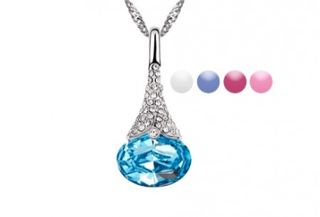 Crystal Water Drop Pendant Necklace 1
