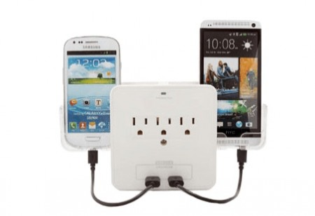 Dual USB Charger with Phone Holders