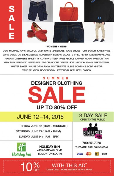 The Sample Sale Guys Summer Designer Clothing Sale - Up to 80 Off + Extra 10 Off Coupon (June 12-14)