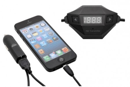 Okra In-Car Universal Wireless FM Transmitter w: Hands-Free Calling & USB Car Charger