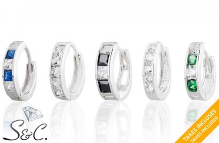 sterling silver and cubic zirconia Huggies Hoop Earrings