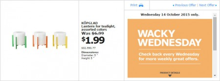 IKEA - Calgary Wacky Wednesday Deal of the Day (Oct 14) B