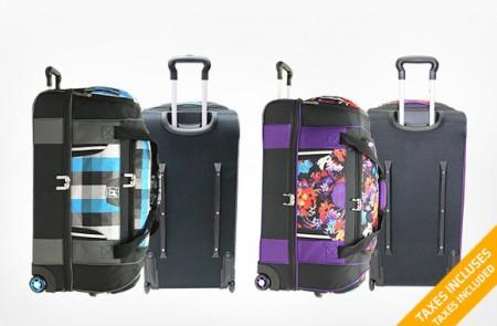 split wheeled duffle bag