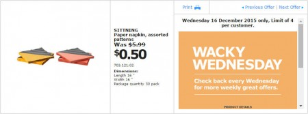 IKEA - Calgary Wacky Wednesday Deal of the Day (Dec 16) A