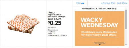 IKEA - Calgary Wacky Wednesday Deal of the Day (Jan 13) A