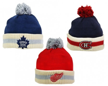 NHL Reebok CCM Stripe Cuffed Pom Knit Toque